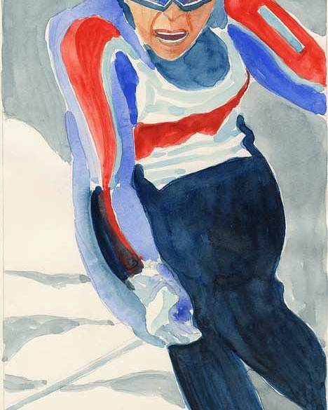 Skier Poster featuring the painting Skier by Fred Jinkins