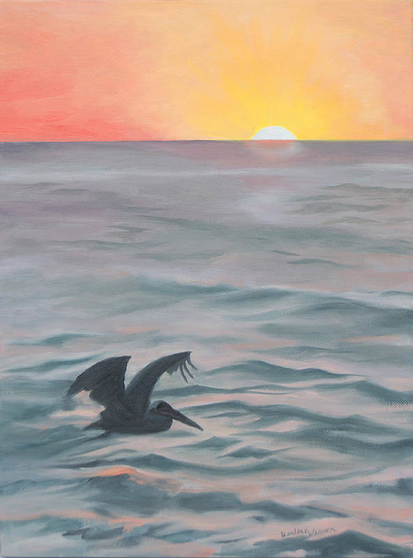 Seascape Poster featuring the painting Skimming The Surface by Darlene Weaver