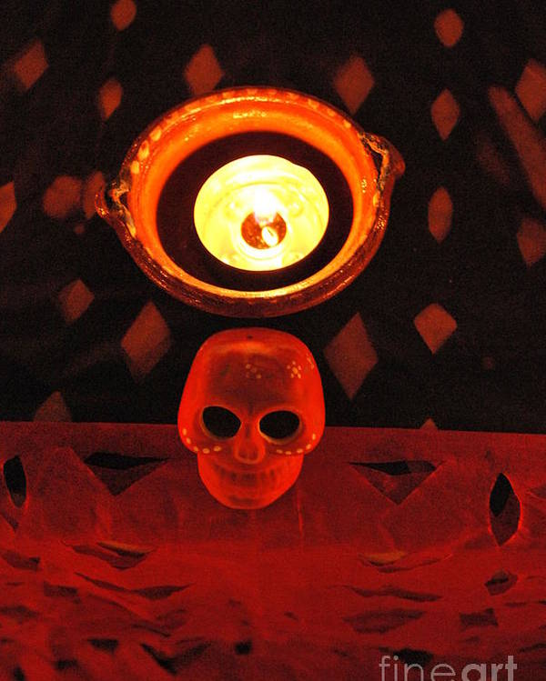 Candle Poster featuring the photograph Skull And Candle by Jose Luis Montes