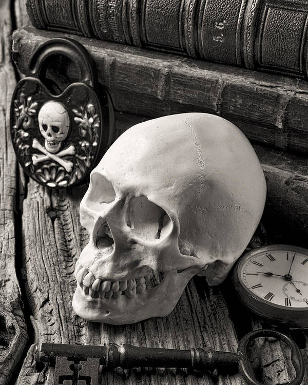Skull Poster featuring the photograph Skull And Skeleton Key by Garry Gay