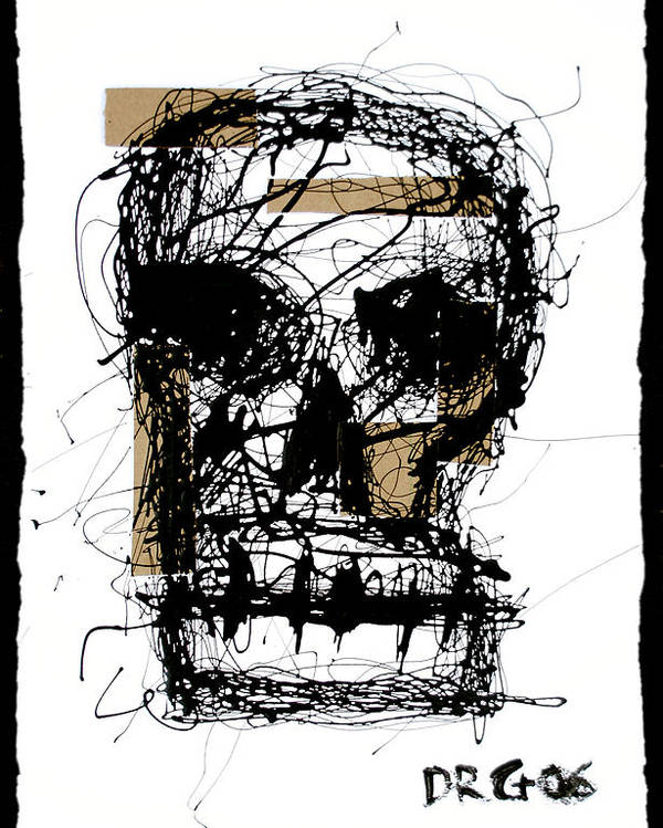 Abstract Poster featuring the painting Skull by Dmitry Gubin