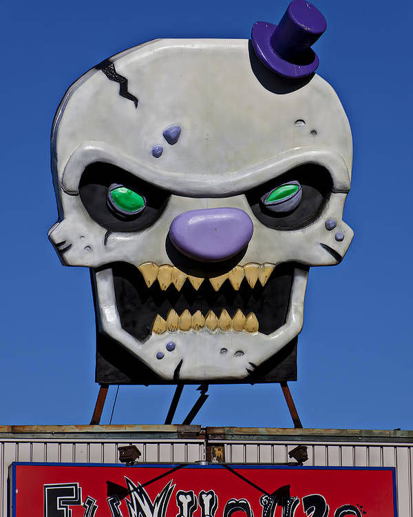 Skull Poster featuring the photograph Skull Fun House Sign by Garry Gay