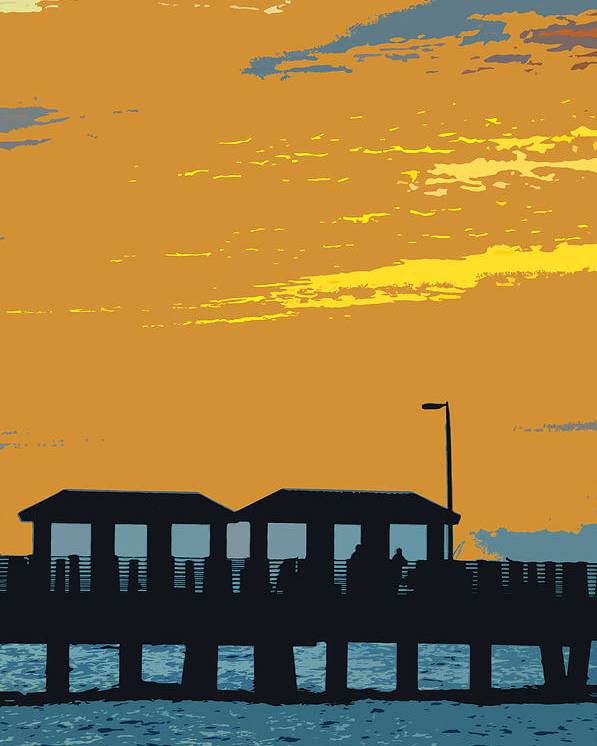 Fishing Pier Poster featuring the painting Sky And Pier by David Lee Thompson
