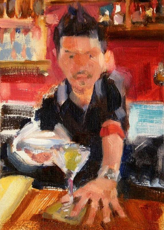 Figurative Poster featuring the painting Skyey At The Far Bar by Merle Keller