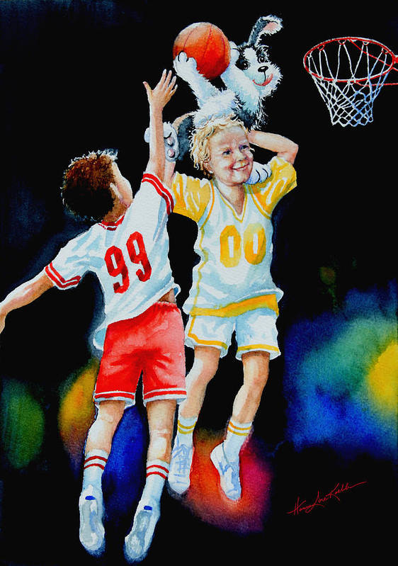 Boys Basketball Poster featuring the painting Slam Dunkin Dog by Hanne Lore Koehler