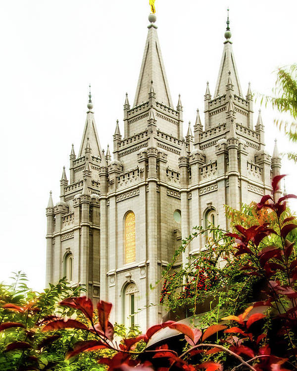 Poster featuring the photograph Slc Temple Angle by La Rae Roberts