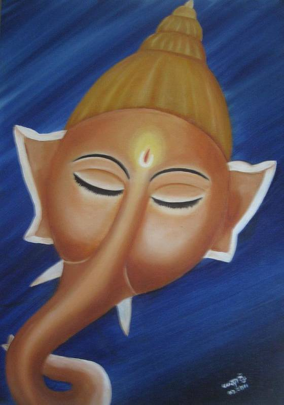 Mythology Poster featuring the painting Sleeping Ganesha by Usha Rai