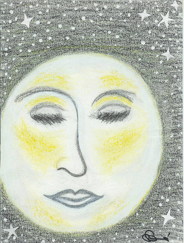 Moon Poster featuring the drawing Sleepy Moon by Ingrid Szabo