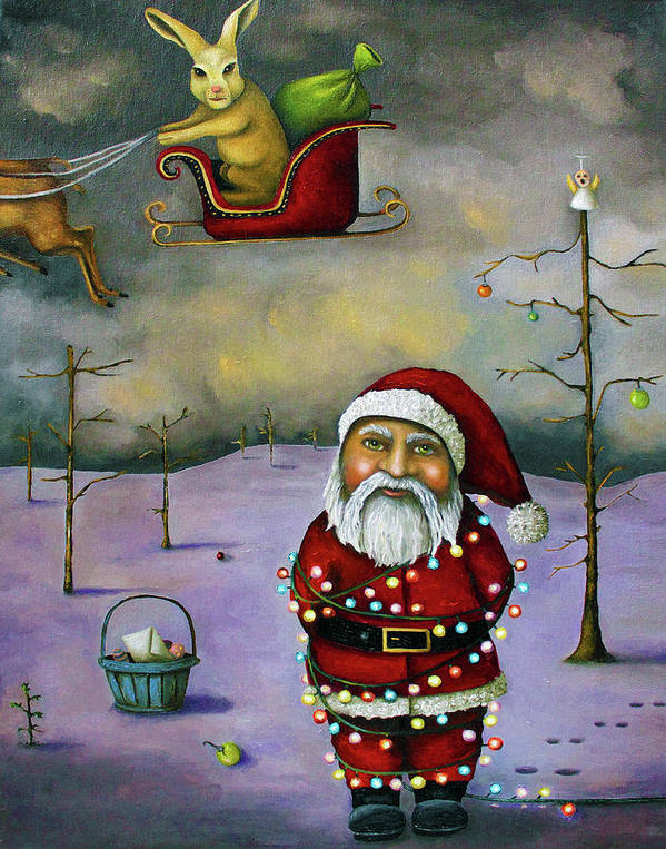 Santa Poster featuring the painting Sleigh Jacker by Leah Saulnier The Painting Maniac