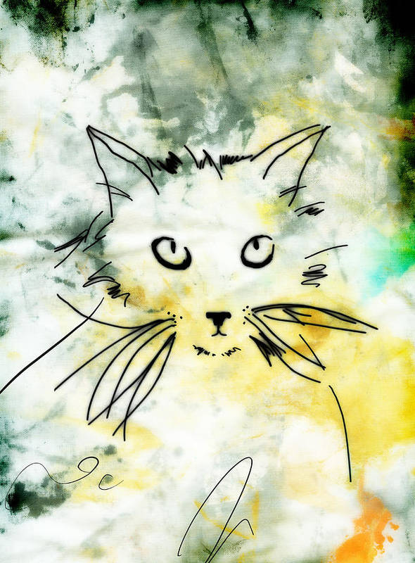 Cat Poster featuring the digital art Slim by Ann Powell