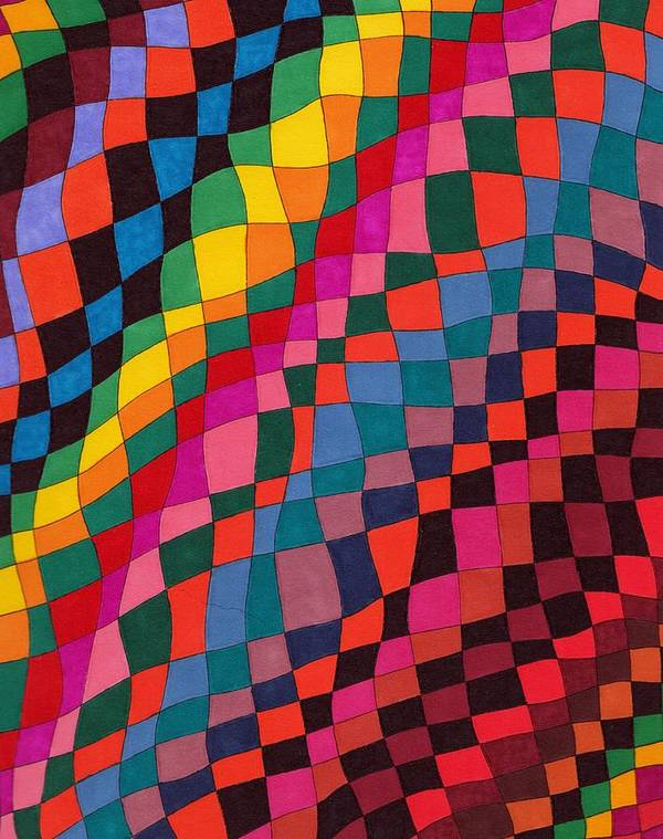 Abstract Pen Drawing Multicoloured Squares Rectangles Distorted Optical Art Fun Contemporary Poster featuring the drawing Slip Sliding Away by Susan Epps Oliver
