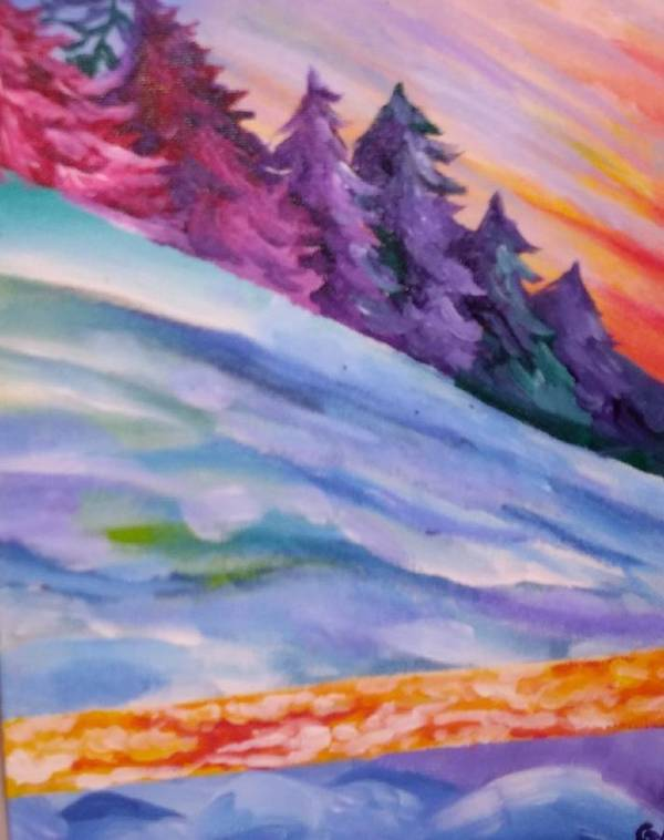 Snow Acrylic Painting White Blue Trees Poster featuring the painting Slopes by Gabriela Magras