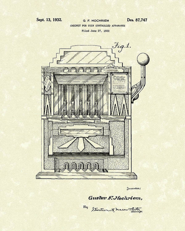 Hochriem Poster featuring the drawing Slot Machine 1932 Patent Art by Prior Art Design