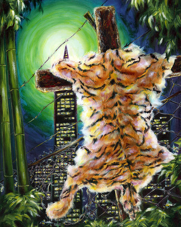 Tiger Poster featuring the painting Slough... What I Have Left Behind The Fence To Survive In This Strange City by Hiroko Sakai