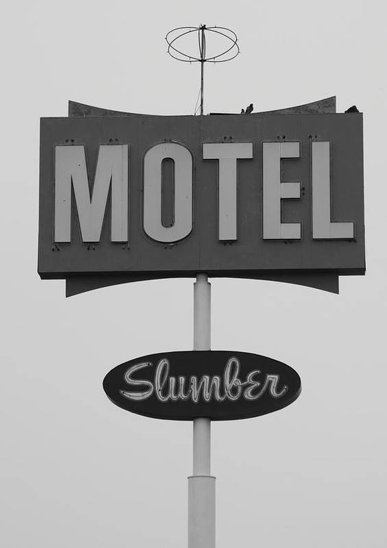 Antique Poster featuring the photograph Slumber Motel Merced Ca by Troy Montemayor