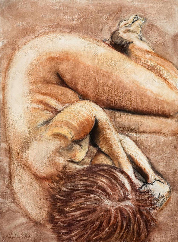 Nude Poster featuring the drawing Slumber Pose by Kerryn Madsen-Pietsch