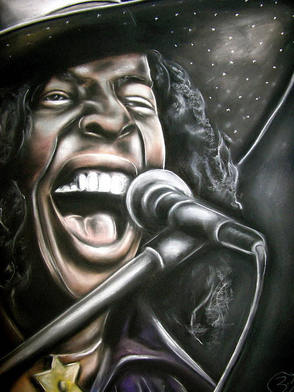 Sly Stone Poster featuring the drawing Sly Stone by Zach Zwagil