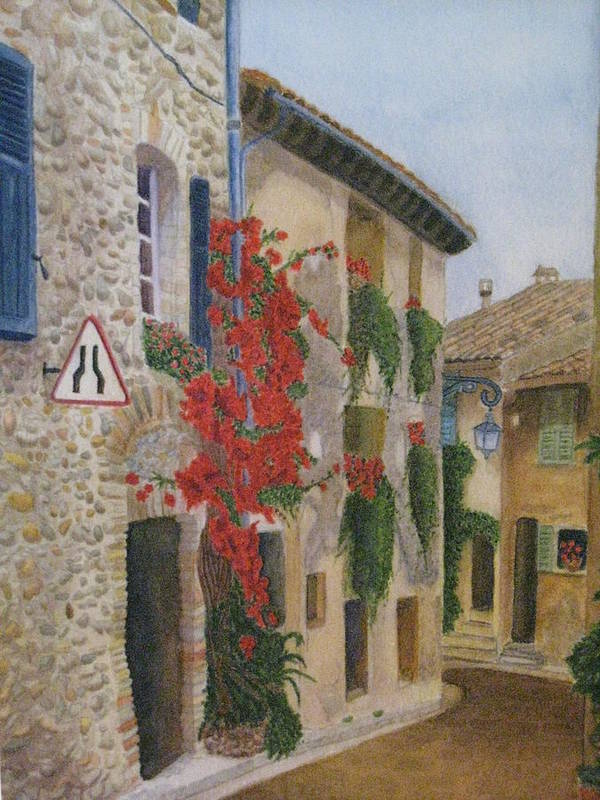 France Poster featuring the painting Small French Village by Barbara Pascal