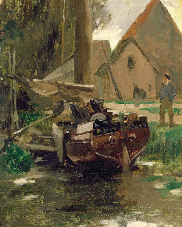 Small Poster featuring the painting Small Harbor With A Boat by Thomas Ludwig Herbst