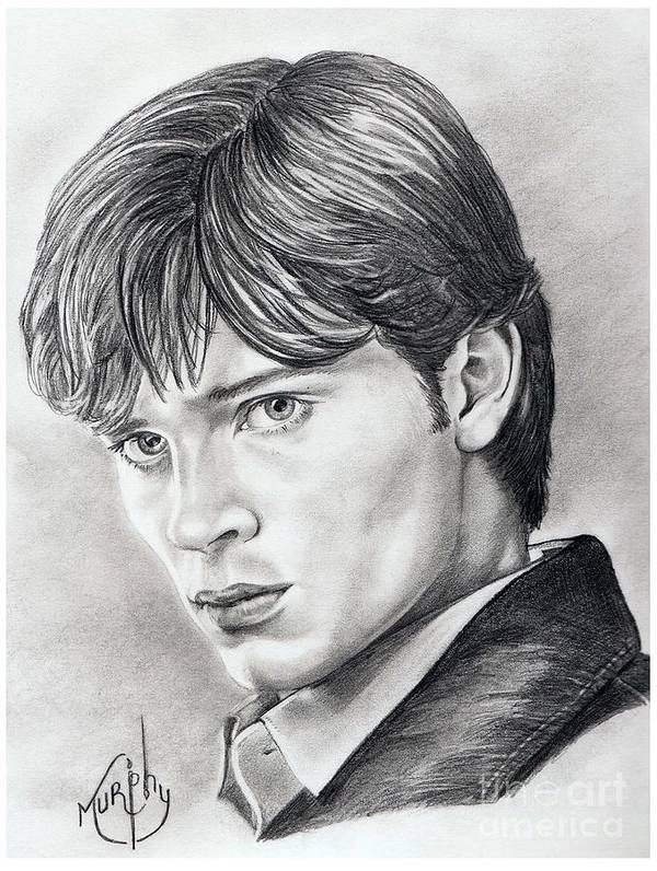 Superman Poster featuring the drawing Smallville Tom Welling by Murphy Elliott