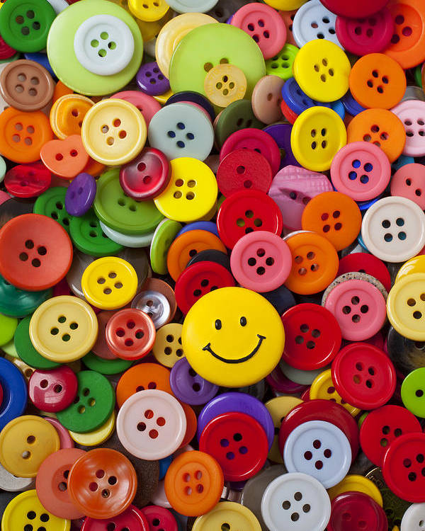 Smiley Face Poster featuring the photograph Smiley Face Button by Garry Gay