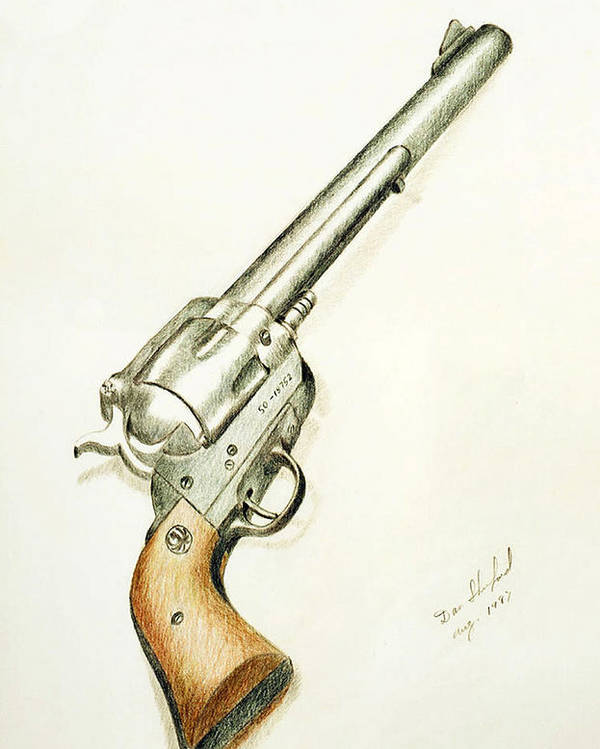 Dan Shuford Poster featuring the drawing Smith And Wesson by Daniel Shuford