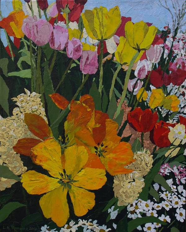 Floral Poster featuring the painting Smith's Bulb Show by Leah Tomaino