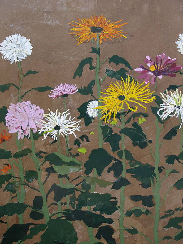 Collage Poster featuring the painting Smith's Giant Chrysanthemums by Leah Tomaino