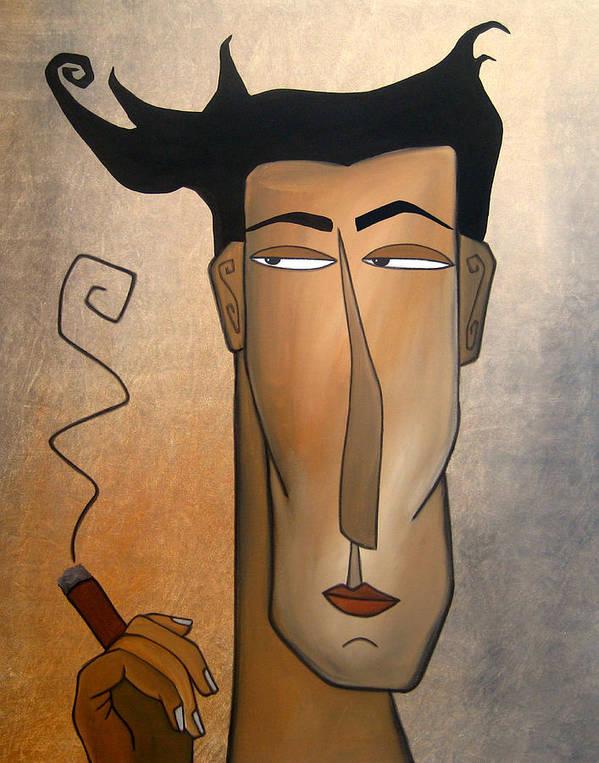 Fidostudio Poster featuring the painting Smoke Break by Tom Fedro - Fidostudio