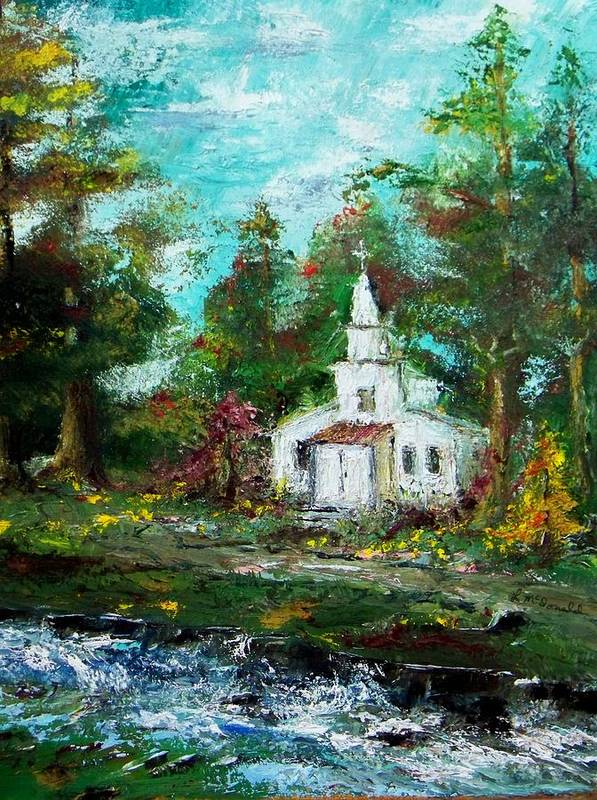 Church Moutain Stream Forest Country Landscape Poster featuring the painting Smokey Mountains Church by Lynda McDonald