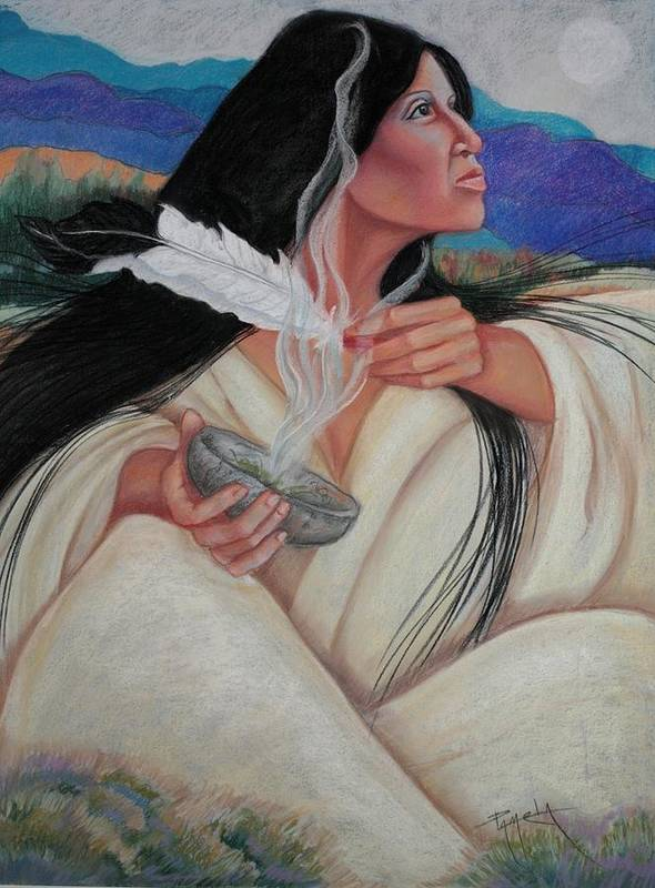 Indian Shamaness Smokes The Sacred Sage With Eagle Feathers. This Is A Tradition To Rid The Enviornment Of Negativity And And Heal American Indian Poster featuring the pastel Smoking The Sage by Pamela Mccabe
