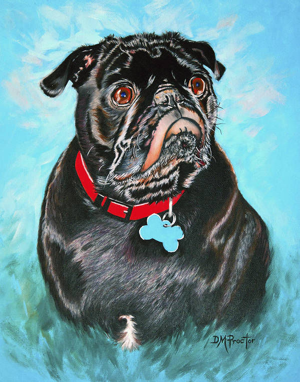 Dog Poster featuring the painting Smug Black Pug by Donna Proctor