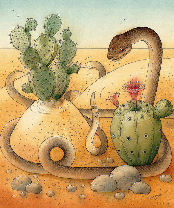 Snake Landscape Sky Cactus Poster featuring the painting Snake by Kestutis Kasparavicius