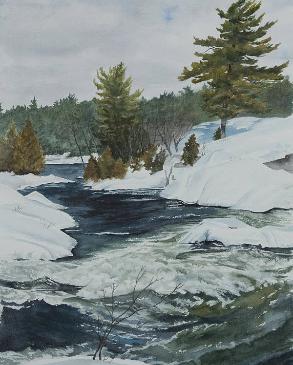 Snow Poster featuring the painting Snow And Islands by Debbie Homewood