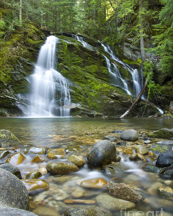 Waterfall Poster featuring the photograph Snow Creek Falls by Idaho Scenic Images Linda Lantzy