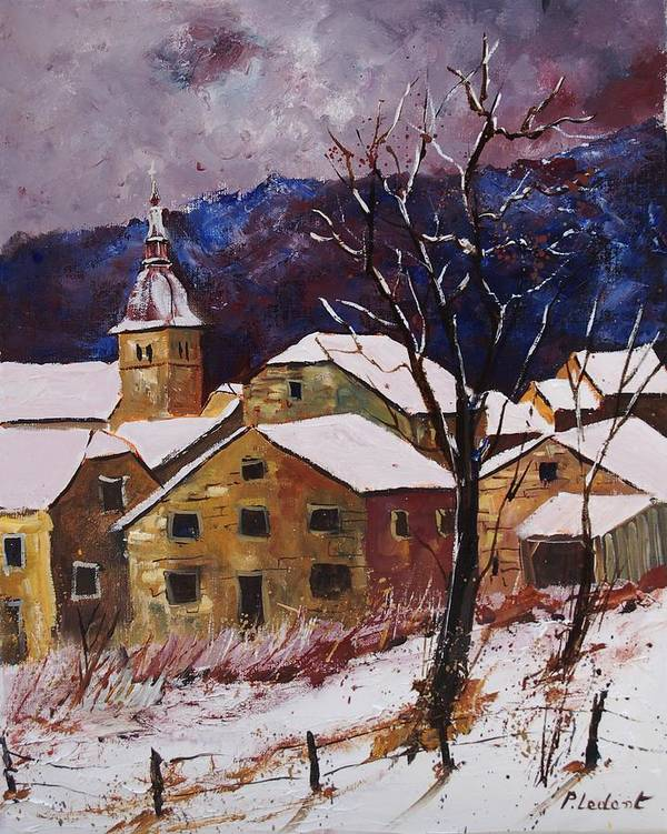Landscape Poster featuring the painting Snow In Chassepierre by Pol Ledent