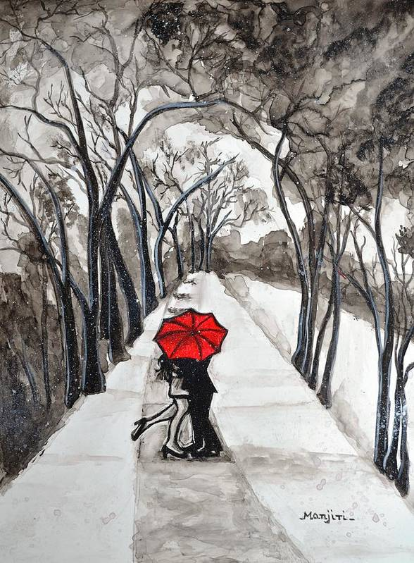 Snow Kiss Love Valentine Yupo Red Umbrella Trees Landscape Couple Figures Romance Pathways Clouds Dark Paper Black White Poster featuring the painting Snow Kiss romantic painting by Manjiri Kanvinde