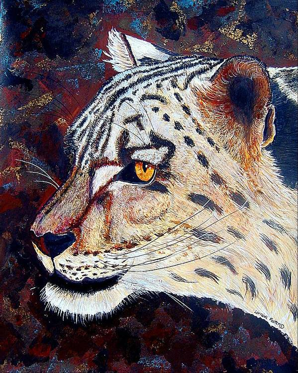 Poster featuring the mixed media Snow Leopard by Lorraine Foster