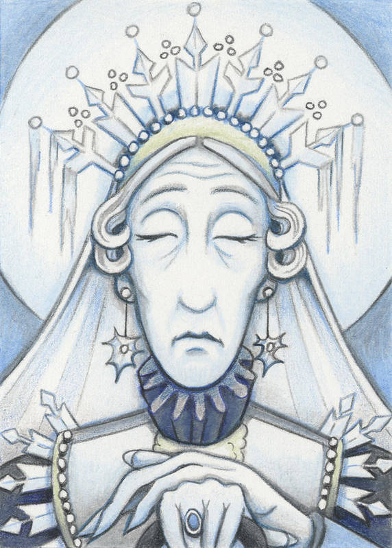 Atc Poster featuring the drawing Snow Queen Mum Slumbers by Amy S Turner