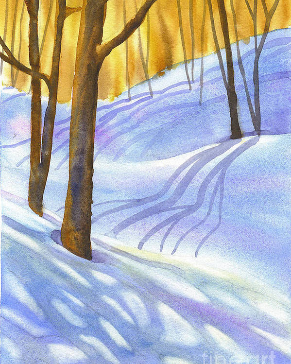 Snow Poster featuring the painting Snow-shadows by Nancy Newman