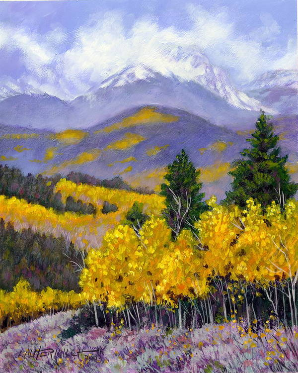 Rocky Mountains Poster featuring the painting Snowing in the Mountains by John Lautermilch