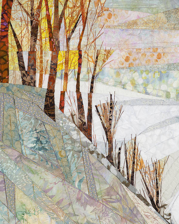 Tree Poster featuring the tapestry - textile Snowy Dawn by Linda Beach