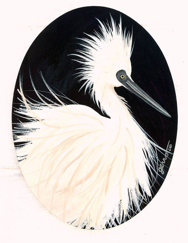 Birds Poster featuring the painting Snowy Egret by Helen Gerro