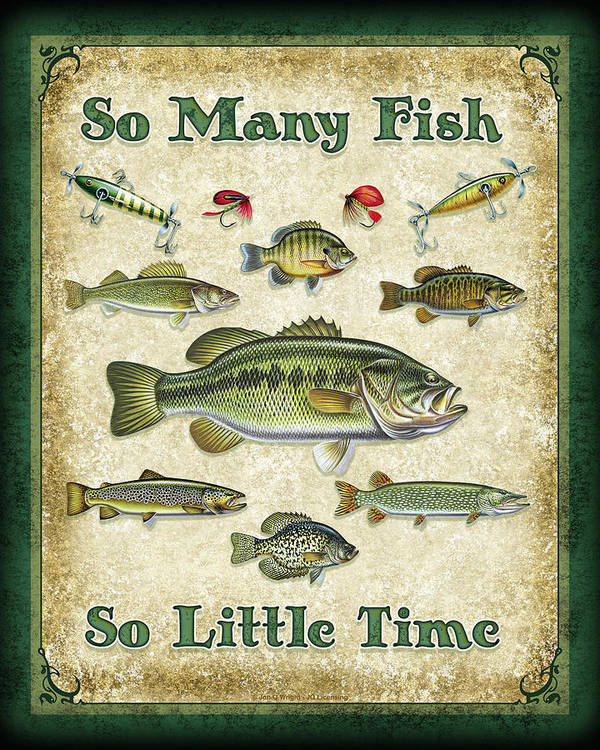 Jon Q Wright Poster featuring the painting So Many Fish Sign by JQ Licensing