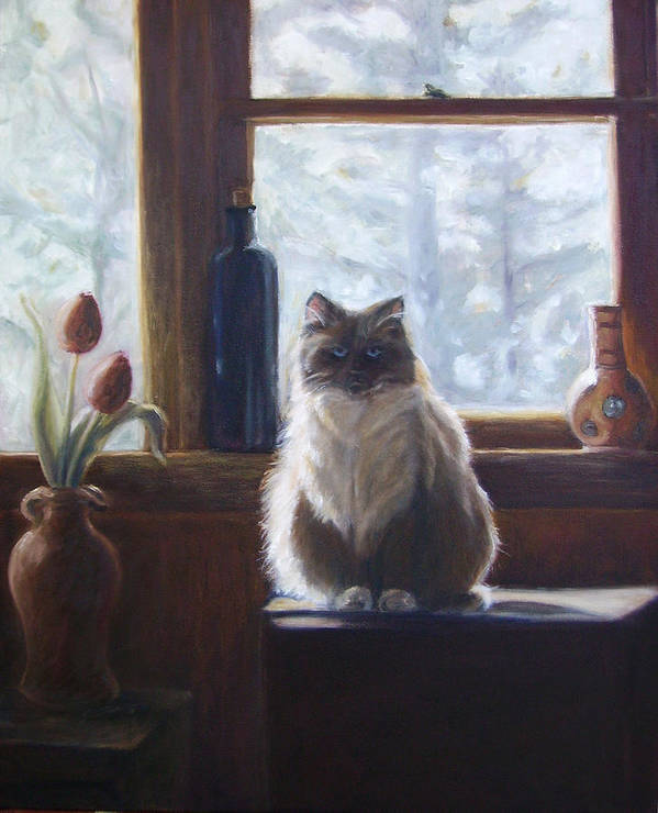 Pets Poster featuring the painting Soaking Up The Sun by Tahirih Goffic