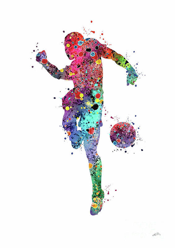 c283d67339c Soccer Player Poster featuring the digital art Soccer Player Sports Art Print  Watercolor Print Soccer Illustration