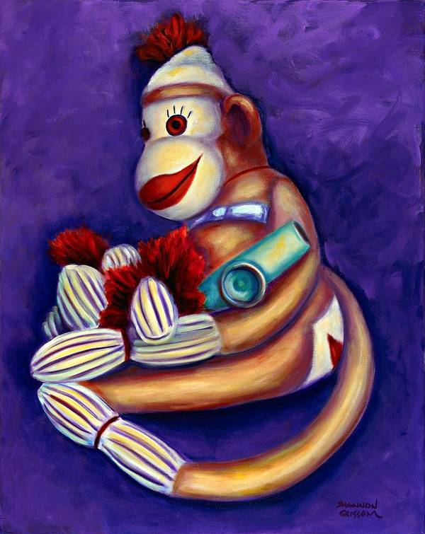Children Poster featuring the painting Sock Monkey With Kazoo by Shannon Grissom