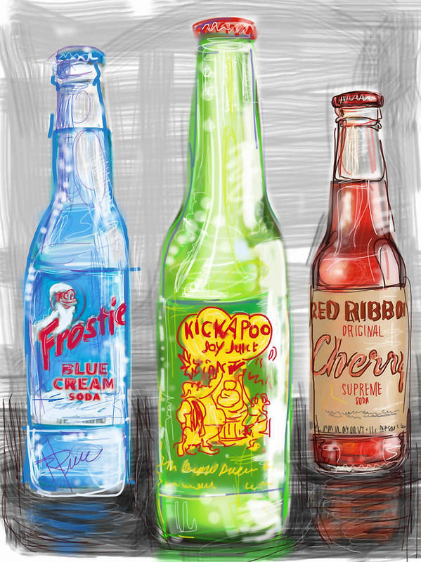 Nostalgia Poster featuring the digital art Soda Pops by Russell Pierce