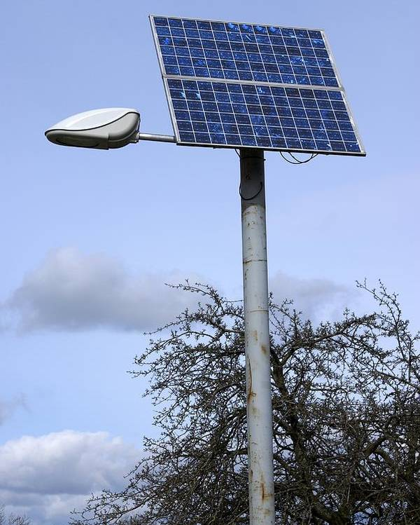 Solar Panel Poster featuring the photograph Solar Powered Street Light, Uk by Mark Williamson