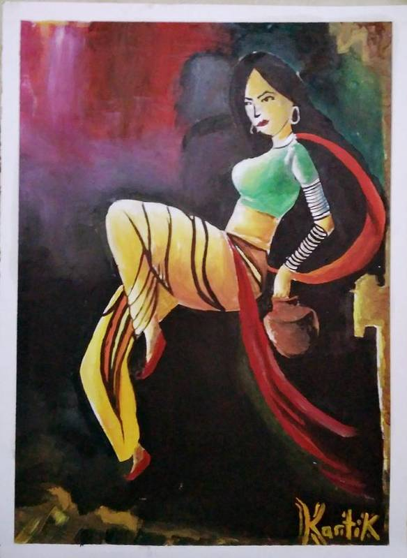 Handmade Oil Colour Painting For Sold In Less Price Poster featuring the painting Sold The Pics by Kartik Verma